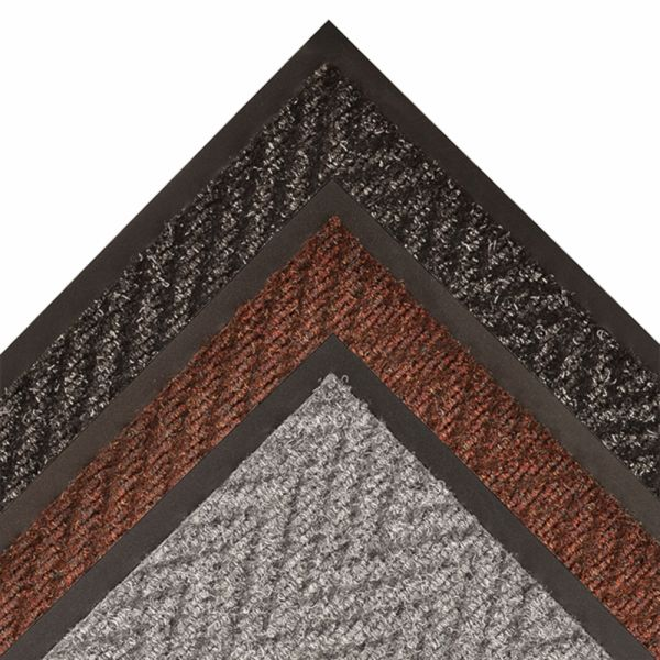 """118 all mats Floormat.com Arrow Trax™ Antimicrobial offers all of the same durability, functional benefits, and aesthetic appeal as the original. Intended for use in high traffic areas, a full 38 ounces of needle-punched yarn per square yard provides the highest degree of crush resistance, while the durable herringbone pattern offers non-directional scraping action and moisture retention. Arrow Trax™ Antimicrobial also features an antimicrobial carpet treatment that stops most Gram positive and Gram negative bacteria and fungi at the entrance. A vinyl non-slip backing makes it the perfect entrance mat for smooth surface floors like linoleum, wood, or tile commonly found in main entrance ways. <ul> <li>Antimicrobial formula resists most Gram positive and Gram negative bacteria</li> <li>Recommended product as a part of the GreenTRAX™ program for """"Green Cleaning"""" environments</li> <li>Available Colors: Charcoal, Autumn Brown, Hunter Green</li> </ul>"""