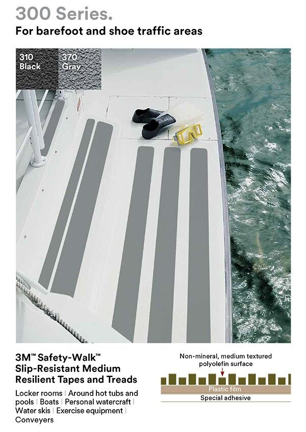 "3m Safety Walk 300 series Floormat.com 3M™ Safety-Walk™ Medium Resilient Tape provides ""high-traction."" Features a resilient, non-mineral, slip-resistant material. Soft surface is suitable for bare feet. For locker rooms and recreational/athletic equipment, boats and docks, interior stairwells, entryways and lobbies. Available in custom sizes and colors, and with custom adhesives."