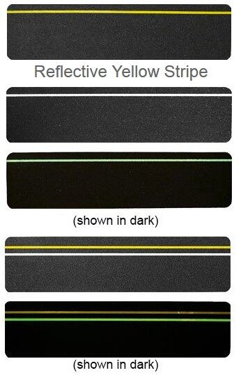 Glo in dark Floormat.com For durable safety, Floormat Specialty Step Tread is made with a mineral abrasive grit-coated polyester film to provide ultimate traction. The pressure sensitive adhesive backing with removable liner offers the versatility to be applied to both interior and exterior applications. These anti-slip slogan treads offer the protection with the added awareness of caution slogan to catch attention.