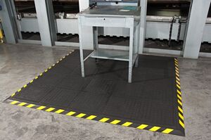 "Hog Heaven II Modular 2 Floormat.com Closed cell Nitrile rubber cushion backing provides long lasting comfort without breaking down. Available in 5/8"" and 7/8"" thickness. <ul> <li>Beveled edges and curved corners create a safer transition from mat to floor</li> <li>Welding safe</li> <li>Ideal for industrial, commercial, retail, hospitality, and health care applications</li> </ul>"