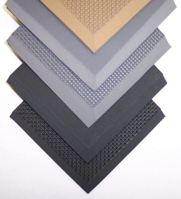 """Ortho 1 Mats Floormat.com This ultra soft mat provides extraordinary comfort during prolonged standing. Endorsed by physicians as an orthopedic mat. The PVC nitrile, closed-cell rubber is impervious to acids, chemicals, petroleum products, and animal and vegetable fats. Beveled edges prevent tripping. """" overall thickness. Custom sizes available."""