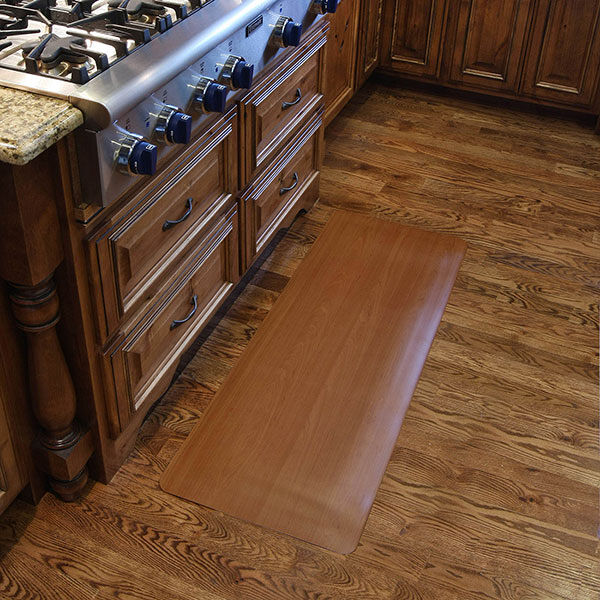 SoftoneKitchen Floormat.com Softone Woodgrain floor mats provide cushioned support and comfort making home chores easier. Whether cooking, washing dishes, or doing the laundry, standing for long periods is less stressful thanks to the Softone Woodgrain mats. <ul> <li>PVC top resists staining and is easy to clean.</li> <li>Closed cell sponge base relieves leg and back discomfort.</li> <li>The attractive wood grain top surface complements any décor.</li> </ul>
