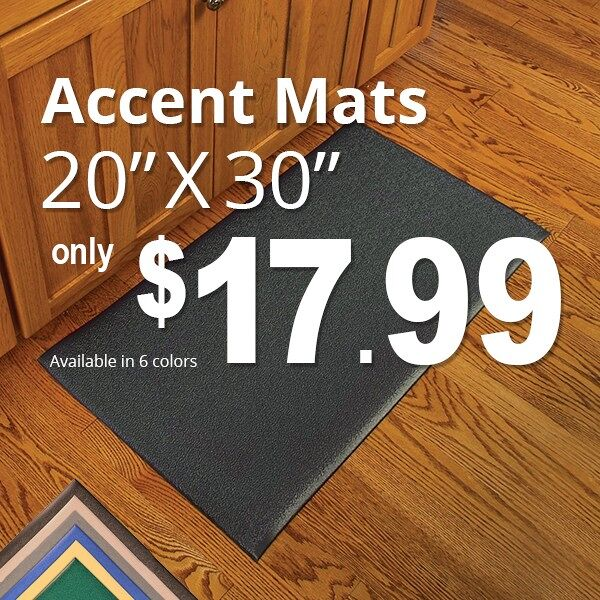 accent mat promo 2 Floormat.com The Accent Mat provides anti-fatigue support while working in the kitchen or any area in the home. Beveled edges provide safety from tripping. Easy to sweep or wipe clean 100% PVC vinyl construction. On Sale for $17.99 in checkout. <ul> <li>Adds a splash of color and can be matched with other home textiles by using one of the stock colors or creating a custom color.</li> <li>Stays in place</li> <li>Beveled edges provide safety from tripping</li> <li>Overall Thickness: 3/8 inch</li> </ul> Accent mats provide ergonomic support while working in any area of the home. Cushioning PVC Sponge construction relieves leg and back discomfort, common when standing for long periods of time.