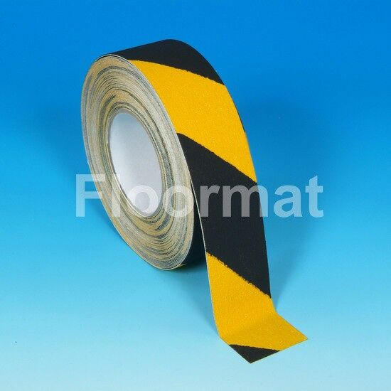 black yellow hazard safety grip angle view Floormat.com