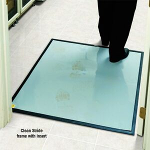 clean stride dirt removal mat frames Floormat.com Clean Stride mats provide highly effective dirt and dust removal methods for factories, computer rooms, warehouses, school gymnasiums, health care facilities and more. <ul> <li>Clean Stride mats provide highly effective dirt and dust removal methods for factories, computer rooms, warehouses, school gymnasiums, health care facilities and more</li> <li>As foot traffic passes over the mat, the Waterhog surface scrapes larger particles while the adhesive insert captures smaller dust & dirt. With two footsteps on Clean Stride adhesive insert, over 90% of dirt particles are removed.</li> <li>Not recommended for wet areas</li> </ul>