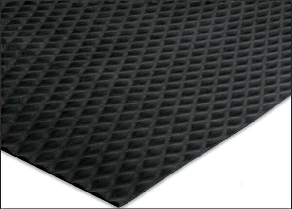 """corner 5 Floormat.com Slip-resistant floor protection matting made from chemical resistant Nitrile rubber. Ideal for kitchens and any area where slipping conditions exist. <ul> <li>1/8"""" thick, 20% post-consumer recycled  rubber content.</li> <li>UV protected, grease/oil proof.</li> <li>Welding safe and electrically conductive</li> </ul>"""