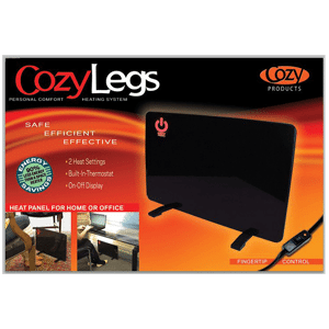 cozy legs 1 Floormat.com Toasty Toes has been redesigned to be smaller and lighter without sacrificing heat production. The Toasty Toes combines an ergonomically design space heater with an ergonomically designed foot rest to provide hours of comfort and warmth. <ul> <li>Energy Efficient; uses only 105 watts of electricity. 93% less than an average space heater</li> <li>Improves circulation and blood flow</li> <li>Safe to the touch, will not burn your skin</li> <li>ELT Listed</li> <li>3 adjustable positions</li> <li>2 pronged plug-in</li> </ul>