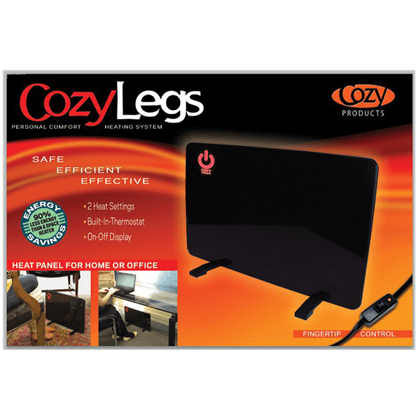 """cozy legs 1 Floormat.com Floormat.com' Cozy Legs personal heater has a sleek, modern look that blends in with any décor. Can be mounted under desk or table. Cozy Legs Heating Panel use only 150 watts to maintain a comfortable 130°F temperature. <ul> <li>Energy-efficient; directs warmth only where you need it</li> <li>Large, high-visibility ON/OFF switch</li> <li>Convenient in-cord switch for fingertip control</li> <li>Built-in thermostat</li> <li>Saves money on electric bills </li> <li>Silent, attractive design</li> <li>12"""" X 18""""</li> </ul> Our Best-Selling Cozy Legs® Flat Panel Heater combines both radiant & convection heat to create a powerful personal heater while only using about 13% the electricity of a standard 1,500 watt space heater."""