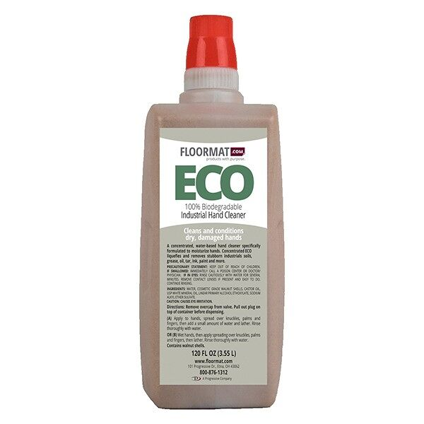 eco hand soap 1 Floormat.com A concentrated water-based hand cleaner specifically formulated to promote healthy skin. Concentrated ECO liquefies and removes stubborn industrial soils, grease, oil, tar ink, paint and more. Available in 18oz bottle (2 Packs) or by the case of 4 - 3.55 Liter bottles. <ul> <li>Fortified with a new generation emollient package that leaves your hands feeling great.</li> <li>The concentrated soap that does it all</li> <li>Contains crushed walnut shells</li> </ul>
