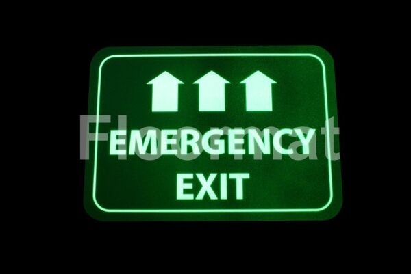 emergency exit sign night 01 Floormat.com Floormat.com warehouse signs are durable, self-adhesive signs constructed from industrial grade plastic. Intended for use in factory warehouses and buildings where restrictions and safety notifications need to be highlighted.