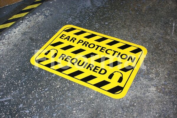 fm02 ear protection required sign Floormat.com Floormat.com warehouse signs are durable, self-adhesive signs constructed from industrial grade plastic. Intended for use in factory warehouses and buildings where restrictions and safety notifications need to be highlighted.
