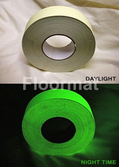 gid plain night and day 3 1 Floormat.com Floormat.com's Glow in the Dark Safety Grip Tape is a self-adhesive plastic based photoluminescent grit tape. Ideal for use highlighting critical areas and especially those prone to power failure.