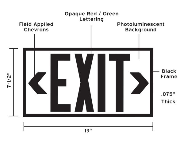 glo brite exit sign aluminium dimensions Floormat.com Glo Brite® P50 Exit signs are now available in aluminum to provide a more formal, front office look. Glo Brite® photoluminescent signs are the intrinsically safe, zero energy, environmentally friendly solution for marking your emergency evacuation routes. Engineered with photoluminescent material that absorbs and stores LED, fluorescent, metal halide or mercury vapor light, Glo Brite® signs create clear, brightly glowing egress pathways during emergency blackout or smoky conditions.