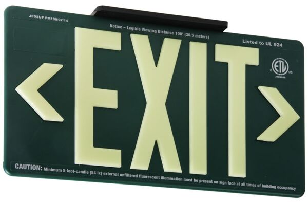 globright p100 exit alum 4 Floormat.com Glo Brite® PF100 Exit Signs utilize next generation photoluminescent technology to absorb and store ambient light for dark places. During an emergency blackout or low visibility conditions, this stored glowing energy is immediately visible, creating a clear, recognizable photoluminescent egress indicator. During an emergency blackout or smoky conditions, this stored energy is immediately visible, reducing the risk of panic or injury during an emergency evacuation while also reducing energy and maintenance costs.