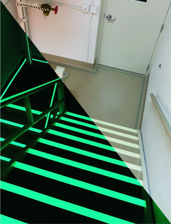 glow in dark anti slip tape 2 Floormat.com Floormat.com's Glow in the Dark Safety Grip Tape is a self-adhesive plastic based photoluminescent grit tape. Ideal for use highlighting critical areas and especially those prone to power failure.