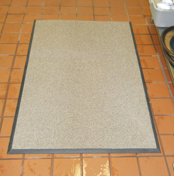 """grip rock mat Floormat.com Extremely slip-resistant floor mats for wet, oily and greasy floors, ramps, stairs, walk-in freezers and other slippery surfaces <ul> <li>Made with crushed garnet and ceramic beads for secure footing </li> <li>Backing restricts creeping</li> <li>Low profile eliminates tripping hazard and allows it to be placed under thresholds </li> <li>Resists fungal & bacterial growth </li> <li>The Grip Rock mats are 3/8"""" thick</li> <li>They are 3' wide and can be purchased per lineal ft as well (3' x 3' for example)</li> </ul> <h2>Grip Rock and Super G slip-resistant safety mats are:</h2> <ul> <li>Slip-resistant in water, grease, and oil</li> <li>Extremely tough and durable</li> <li>Flexible even in freezing temperatures</li> <li>Lightweight and thin (1/8 inch thick, a 3' x 10' is only 25 pounds)</li> <li>No installation needed</li> <li>Easy to handle, clean, and maintain</li> <li>The regular version has a tacky polyurethane backing that is especially conducive to temporary floor adhesion and slip resistance. It is meant to be removed and cleaned and moved around as necessary.</li> </ul> Order either online below. Standard width is 3 feet to a maximum length of 40 feet.<strong>Grip Rock slip-resistant floor mat</strong> has a unique surface, incorporating round textured ceramic beads and crushed garnet to minimize slipping while facilitating easy cleaning. Grip Rock safety mats are designed to be slip-resistant in wet, hazardous areas including walk-in freezers, wet and slippery ramps, and stairs indoors or outdoors.Grip Rock safety mat is constructed of rugged components: <ul> <li>Tacky and durable polyurethane backing to prevent hydroplaning - mat stays put</li> <li>A middle layer of fiberglass that prohibits tearing and increases strength</li> <li>A durable top layer of ceramic beads and crushed garnet in a polyurethane matrix</li> <li><strong>Super G</strong> has the same basic properties of Grip Rock but has a special abrasive top surface designed """