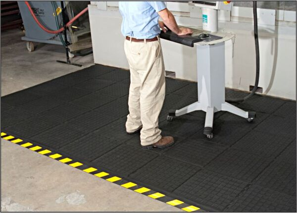 hh mod tile ii Floormat.com Recommended for distribution, manufacturing and retail facilities for picking lines, assembly lines, workstations, check-out stations and more. Nitrile rubber surface is molded to the cushion backing (not glued) so the surface does not delaminate. The mats cushion is a closed cell Nitrile rubber cushion that provides long-lasting comfort. <ul> <li>Rubber surface remains flexible for the life of the product and will not curl or crack</li> <li>Border is available in black and yellow striped</li> <li>Electrically conductive ,and welding safe</li> </ul>