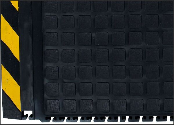 hog heaven 2 linkable comfort 2 Floormat.com <ul> <li>Outstanding anti-fatigue qualities for dry areas</li> <li>Solid 20% recycled Nitrile Rubber top surface has excellent chemical and oil resistance</li> <li>Closed cell Nitrile rubber cushion provides long lasting comfort</li> <li>Welding Safe, Electrically Conductive</li> <li>Nirtile Rubber surface is molded to the cushion backing (not glued) so the surface will not delaminate</li> <li>Rubber surface remains flexible for the life of the product and will not curl or crack</li> <li>Border is available in Black or Yellow striped</li> <li>Recommended for distribution, manufacturing and retail facilities for picking lines, assembly lines, work stations, check-out stations and more.  </li> </ul>