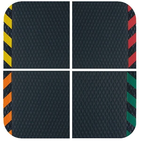 "hog heaven colors Floormat.com Recommended for distribution, manufacturing and retail facilities for picking lines, assembly lines, work stations, check-out stations and more. Borders are beveled and are available with OSHA approved colors: yellow, orange, green or red. Welding safe and electrically conductive. <ul> <li>7/8"" thickness</li> <li>Chemical resistant, grease & oil proof</li> <li>Rubber borders will not crack or curl</li> </ul>"