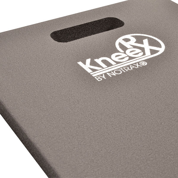 "kneerx 1 Floormat.com The Knee RX™ Kneeling Mat was designed for intense kneeling applications such as gravel, asphalt, concrete, tile, and wood flooring, providing cushy support by reducing trauma, stress and strain on the knees and lower back. Perfect for tool and maintenance carts, or for workstations, Knee RX™ is made from a nitrile/PVC foam blend offering resistance to oils and greases, and is a full 1"" thick for the ultimate in comfort. <ul> <li>Designed for comfort and durability in extreme kneeling applications</li> <li>Self-extinguishing, non-conductive, silicone free material</li> <li>Built-in handle easy to carry or hang up</li> </ul>"