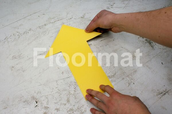 large arrow Floormat.com Floormat.com warehouse markers are durable, self-adhesive signs constructed from industrial grade plastic. Intended for use in factory warehouses and buildings where restrictions and safety notifications need to be highlighted.