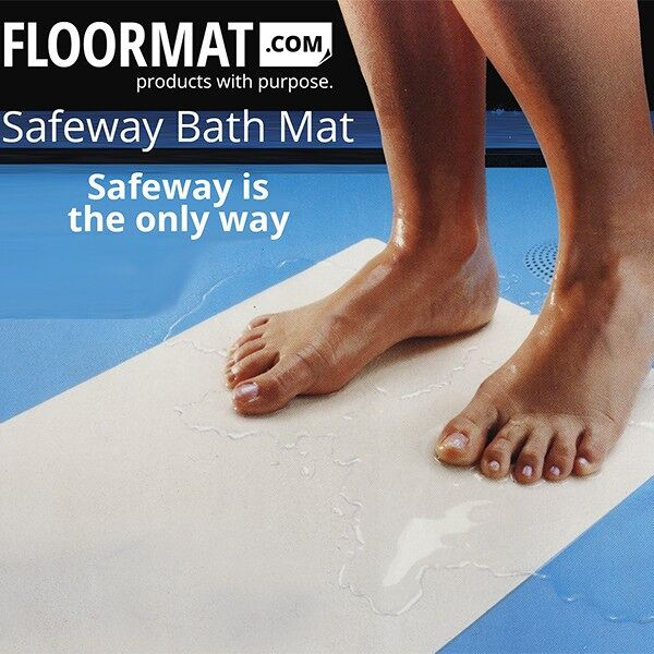 safeway bath mat Floormat.com The ultimate bath mat for tubs, tub sills, shower stalls, jet tubs and more! Safeway Bath Mats peel and stick technology is fast and extremely easy to use. Available in white and clear, it provides safer footing for wet surfaces. Available in standard bath mat sizes, or long sheet runs, it can be cut for any shape or application. <ul> <li>High performance, water-resistant, acrylate adhesive is ideal for wet conditions</li> <li>Available in White or Clear</li> <li>Each tread has a reliable, long-lasting adhesive that helps keep it in place. </li> </ul> <h2>Safeway Bath Mat – the Ultimate Bath Mats made from pressure sensitive Safety-Walk™</h2> Safeway Bath Mats are the ultimate bath mat's. It beautifies the tub while making it safer. Used in hospitals and guaranteed to last years, Safeway Bath Mat cleans the same as you would your tub. Safeway Bath Mats are manufactured from a unique type of vinyl, and are both comfortable to the skin and pleasing to the eye.<ul> <li><strong>Durable</strong> – Outlasts traditional mats, with life expectancy of years, not months.</li> <li><strong>Easy to Clean</strong> – Clean just as you do the tub. No additional maintenance required.</li> <li><strong>Custom Sizing</strong> – Multiple sizing to custom fit your tub.</li> <li><strong>Completely Sanitary</strong> – All vinyl construction limits growth of odor causing germs and bacteria.</li> <li><strong>Colorfast</strong> – Will not fade or wash out.</li> <li><strong>Mistake-Proof Application</strong> – Simply peel off liner and press firmly onto a <strong>clean, dry</strong> tub surface. Allow four hours to dry. Note: When you are ready to replace your Safeway Bath Mat, simply lift the corners and remove. Safety Bath releases cleanly with no remaining residue to clean.</li> </ul>