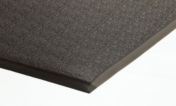 "surecushionheavydutycloseuphires Floormat.com A comfortable anti-fatigue mat designed for dry areas. Manufactured using 1/2"" PVC from heavy use areas. This mat has an 80 mil solid vinyl surface combined with a non-closed cell vinyl cushion back. Beveled on all sides for safety."