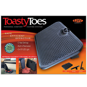 toasy toes 02 Floormat.com This is our Best-Selling Foot Warmer™ heated mat warms up to an intense 150°F while using the same electricity as a light bulb! Safe and economical – using one tenth the energy of dangerous space heaters. <ul> <li>It powers on just 120 watts; 92% less than a standard 1,500 watt space heater</li> <li>TUV Listed - meeting strict safety standards</li> <li>Warms feet directly through shoes or boots</li> <li>Perfect for under desks & standing workstations</li> <li>May be used to melt snow from boots, leaving them warm & dry</li> </ul> The Super Foot Warmer™ is a heated mat that warms up to an intense 150°F while using only a little more electricity as a standard light bulb! From doorways to under the desk, the Super Foot Warmer provides the needed warmth to keep others comfortable & content.