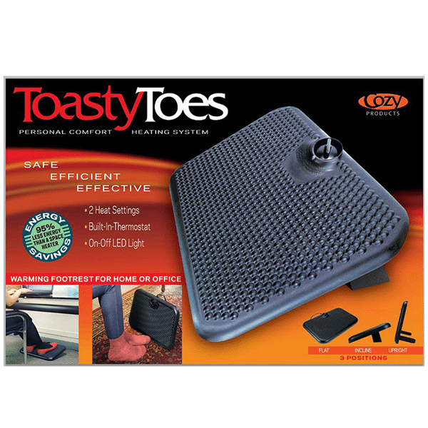toasy toes 02 Floormat.com Toasty Toes has been redesigned to be smaller and lighter without sacrificing heat production. The Toasty Toes combines an ergonomically design space heater with an ergonomically designed foot rest to provide hours of comfort and warmth. <ul> <li>Energy Efficient; uses only 105 watts of electricity. 93% less than an average space heater</li> <li>Improves circulation and blood flow</li> <li>Safe to the touch, will not burn your skin</li> <li>ELT Listed</li> <li>3 adjustable positions</li> <li>2 pronged plug-in</li> </ul>