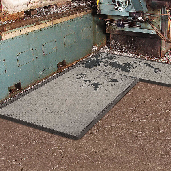 """3188500 bk1000 Floormat.com Sorb Stance™ is the first modular anti-fatigue mat designed specifically for combined use with a sorbent pad in environments where pooling liquids can create a safety hazard. Made from a 100% Nitrile rubber compound, Sorb Stance™ is extremely resistant to chemicals, cutting fluids, oils and greases commonly found where sorbent pads are used. This unique mat offers anti-fatigue relief utilizing a raised footing system design on the underside of the mat that provides cushioning comfort and aeration. <ul> <li>100% Nitrile rubber compound for extreme resistance to chemicals, cutting fluids, oils, and greases</li> <li>Available in both stock sizes and on-site custom configurations</li> <li>A raised footing design on the underside of the mat provides cushioning comfort and aeration</li> <li>Molded beveled borders allow for easy access on to and off of the mat</li> <li>A recessed top surface acts as a tray that holds the sorbent pad and traps liquids</li> <li>The tray top surface has a series of molded pins that grip and hold the sorbent pad in place</li> <li>Designed to comfortably accommodate a standard 30"""" wide sorbent pad. (Inside tray width – 32"""")</li> </ul>"""