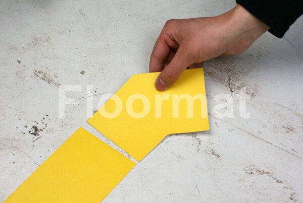 45 degree 100 1 Floormat.com Floormat.com warehouse markers are durable, self-adhesive signs constructed from industrial grade plastic. Intended for use in factory warehouses and buildings where restrictions and safety notifications need to be highlighted.