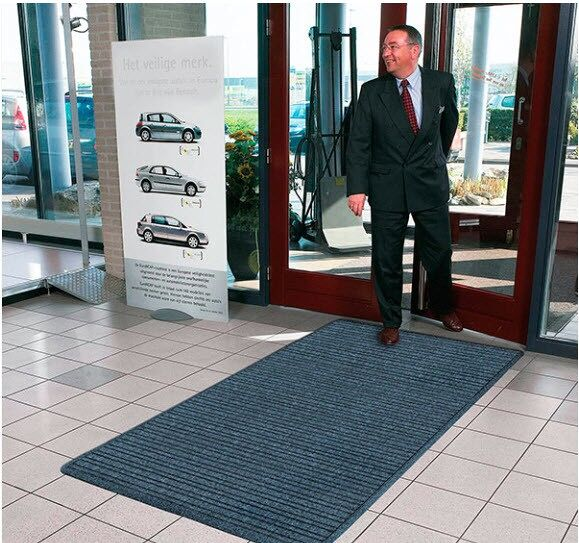 Barrier Rib Antimicrobial 3 Floormat.com Barrier Rib™ is a unique yet highly functional indoor entrance mat with a molded dual-ridge cross-rib pattern to maximize the scraping and drying process. A raised rubber perimeter on all four sides of the mat retains moisture and debris, and an antimicrobial carpet treatment stops bacteria and germs at the entrance. An extremely durable rubber backed mat, Barrier Rib® has a highly fashionable look that features carpet-to-the-edge to blend with its surroundings and contemporary color choices to match any décor. <ul> <li>Molded dual-ridge cross-rib pattern (A NoTrax® exclusive) facilitates scraping and drying</li> <li>Aqua Dam™ border retains moisture and debris</li> <li>Carpet-to-the-edge construction to blend with its surroundings</li> <li>Anti-Microbial carpet treatment stops bacteria and germs at the entrance</li> <li>Rubber underside cleat design resists mat slippage</li> <li>Available in continuous lengths up to 60 feet</li> </ul>
