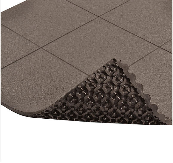 Cushion Ease ESD Conductive Solid 1 Floormat.com Cushion-Ease® ESD Conductive Solid static control floor mats are part of the Solutions™ family of products. This specially formulated rubber floor mat is designed to drain static electricity from the worker safeguarding sensitive machinery and delicate circuitry. All Cushion-Ease® mats have a male/female interlocking system and are compatible with M.D. Ramps for easy on-site custom configurations and trip-resistant platforms. Cushion-Ease® ESD mats can be combined with other Cushion-Ease® family products. <ul> <li>Base compound - 100% Nitrile rubber specially formulated to drain static electricity</li> <li>A unique multi-nib support design offers exceptional fatigue relief and aeration</li> <li>Solid top design with an anti-slip surface texture</li> <li>Easy to snap together modular matting system for on-site custom configurations</li> <li>Optional nitrile rubber ramps available for trip-resistant platform (551 M.D. Ramp System®)</li> <li>(ESD) Conductive - measured resistance Rg 104 - 106 O/Rp 104 - 106 O</li> <li>An optional grounding cord is available</li> </ul>