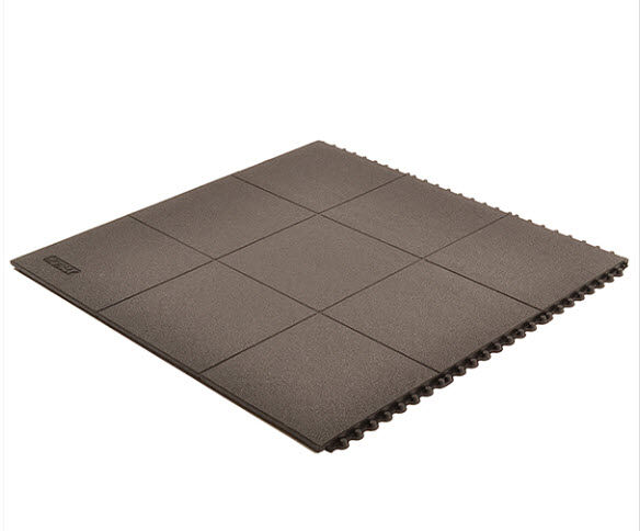 Cushion Ease ESD Conductive Solid 2 Floormat.com Cushion-Ease® ESD Conductive Solid static control floor mats are part of the Solutions™ family of products. This specially formulated rubber floor mat is designed to drain static electricity from the worker safeguarding sensitive machinery and delicate circuitry. All Cushion-Ease® mats have a male/female interlocking system and are compatible with M.D. Ramps for easy on-site custom configurations and trip-resistant platforms. Cushion-Ease® ESD mats can be combined with other Cushion-Ease® family products. <ul> <li>Base compound - 100% Nitrile rubber specially formulated to drain static electricity</li> <li>A unique multi-nib support design offers exceptional fatigue relief and aeration</li> <li>Solid top design with an anti-slip surface texture</li> <li>Easy to snap together modular matting system for on-site custom configurations</li> <li>Optional nitrile rubber ramps available for trip-resistant platform (551 M.D. Ramp System®)</li> <li>(ESD) Conductive - measured resistance Rg 104 - 106 O/Rp 104 - 106 O</li> <li>An optional grounding cord is available</li> </ul>