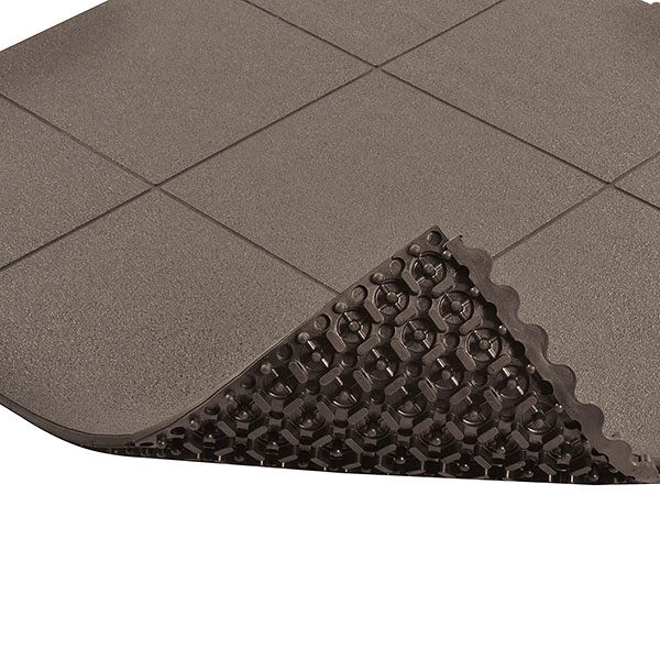 Cushion Ease ESD Dissipative Solid 2 Floormat.com Cushion-Ease® ESD Dissipative Solid static control floor mats are part of the Solutions™ family of products. This specially formulated rubber floor mat is designed to drain static electricity from the worker safeguarding sensitive machinery and delicate circuitry. The solid-top version has a textured surface for added traction and is easy to sweep clean. All Cushion-Ease® mats have a male/female interlocking system and are compatible with M.D. Ramps for easy on-site custom configurations and trip-resistant platforms. Cushion-Ease® ESD mats can be combined with other Cushion-Ease® family products. <ul> <li>Base compound - 100% Nitrile rubber specially formulated to drain static electricity</li> <li>A unique multi-nib support design offers exceptional fatigue relief and aeration</li> <li>Solid top design with an anti-slip surface texture</li> <li>Easy to snap together modular matting system for on-site custom configurations</li> <li>Optional nitrile rubber ramps available for trip-resistant platform (551 M.D. Ramp System®)</li> <li>(ESD) Dissipative - measured resistance Rg 106 - 109 O/Rp 106 - 109 O</li> </ul>