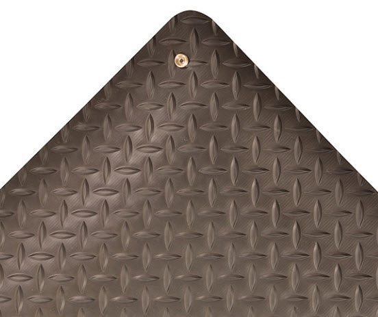 Diamond Stat 1 Floormat.com Diamond Stat™ is a dissipative/anti-static mat designed to absorb static electricity. The mat drains static electricity from the worker keeping sensitive circuitry from being damaged. The durable vinyl diamond-plate design provides non-directional traction, and is easy to clean. The top surface is combined with a dense closed cell foam base utilizing UniFusion™ technology virtually eliminating the possibility of de-lamination. The Diamond Stat™ utilizes RedStop™ non-slip backing technology which keeps the mat from moving on smooth surface flooring. <ul> <li>Dissipative /anti-static matting is formulated to absorb static electricity</li> <li>Durable vinyl diamond-plate anti-slip top surface</li> <li>UniFusion™ bond guaranteed for the life of the mat – See warranty for details</li> <li>Sloped beveled edges to reduce trip hazards and allows easy access onto and off of mat</li> <li>RedStop™ non-slip backing to eliminate mat slippage</li> </ul>