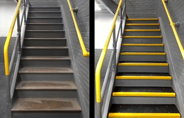 """Fiberglass Step Covers Staircase Installation Before After Floormat.com Grit-Coated Step Covers & Walkway Panels provide slip resistance, durability and a permanent anti-slip solution. Fiber glass step covers are lightweight and ideal for use on structurally sound surfaces. <ul> <li>Our Fiber Glass products are coated with a proprietary blend of mineral abrasive epoxy grit. Surfaces such as gratings, mezzanines, steps, inclines, and Ramps</li> <li>All are available in three distinct grit coating options: Heavy Duty, Medium and Fine as well as Yellow or Black.</li> <li>Specialty sizes and panels are available upon request. Call for details.</li> </ul> <h2>Add Slip-resistance to Steps, Ramps & Walkways</h2> Featuring a proprietary coating of mineral abrasive epoxy grit, our fiberglass step covers and walkways provide a lightweight and durable anti-slip surface. With three coating options, heavy, medium or fine, our covers may be applied to any structurally sound surface including steps, inclines, floors, and ramps. These fiberglass covers are a cost-effective way to provide slip-resistant footing to existing surfaces, and combine low maintenance with long service life. The mineral abrasive epoxy grit is bonded to 0.125"""" thick thermoset polyester, fiber-reinforced polymer panels. These fiberglass step covers and panels are fire-retardant and easy to maintain. The epoxy grit surface may be swept to loosen and remove dirt, and cleaned with a general purpose industrial floor cleaner and bristle brush. The step covers and walkway panels may also be pressure washed with up to 1000 psi. <img class=""""size-medium wp-image-14990 alignleft"""" src=""""https://www.floormat.com/wp-content/uploads/sure-foot-grit-300x232.jpg"""" alt="""""""" width=""""300"""" height=""""232"""" /> <h3>Step Covers</h3> <ul> <li>11.75"""" depth with 2"""" nosing</li> <li>9"""" depth with 1"""" nosing</li> <li>3"""" depth with 1"""" nosing</li> <li>Lengths up to 12 feet</li> <li>Single color treads in yellow or black only</li> <li>Two-color treads"""