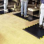Happy Feet 3 mats in use striped border website Floormat.com