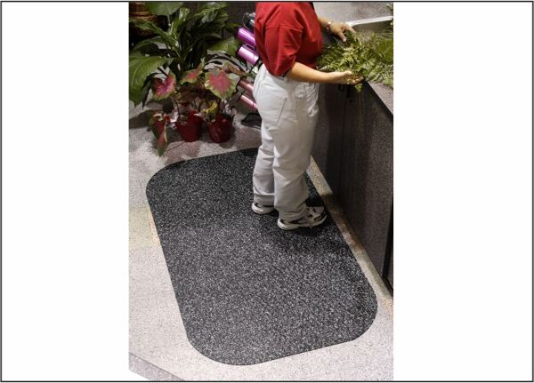 """Hog Heaven Confetti 3 Floormat.com Closed cell Nitrile rubber cushion backing provides long lasting comfort without breaking down. Available in 5/8"""" and 7/8"""" thickness. <ul> <li>Beveled edges and curved corners create a safer transition from mat to floor</li> <li>Welding safe</li> <li>Ideal for industrial, commercial, retail, hospitality, and health care applications</li> </ul>"""