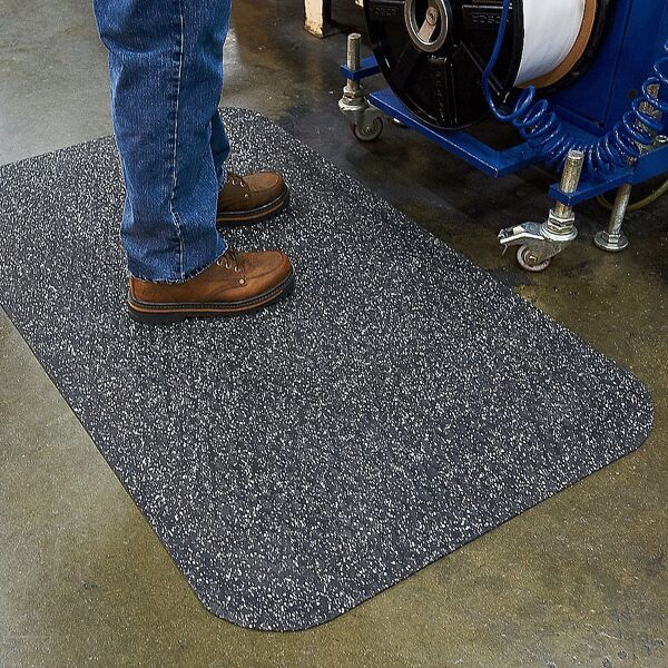 """Hog Heaven Confetti Floormat 3 Floormat.com Closed cell Nitrile rubber cushion backing provides long lasting comfort without breaking down. Available in 5/8"""" and 7/8"""" thickness. <ul> <li>Beveled edges and curved corners create a safer transition from mat to floor</li> <li>Welding safe</li> <li>Ideal for industrial, commercial, retail, hospitality, and health care applications</li> </ul>"""