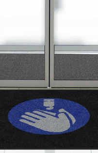 """Product7 Floormat.com Floor mat with social distancing reminder of """"Use Hand Sanitizer"""" 2' x 3' or 3' x 5'Digitally printed on eco-friendly PET (polyethylene terephthalate) fabric. Photographic-Quality Print - Logos and designs are digitally printed at 76 dpi, making fine details, shading, and 3D images achievable Eco-Friendly - PET (polyethylene terephthalate) carpet surface contains 50% post-consumer recycled content reclaimed from plastic bottles Fade Resistant - PET yarn has excellent color-fastness and is resistant to fading from repeated washing/cleaning Stain Resistant Floor Mat- PET yarn is naturally resistant to staining"""