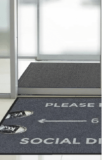 """Product8 Floormat.com Floor mat with social distancing reminder of """"Please Practice Social Distancing"""" 3' x 5' <ul> <li>Digitally printed on eco-friendly PET (polyethylene terephthalate) fabric.</li> <li>Designs are digitally printed at 76 dpi, making fine details, shading, and 3D images achievable</li> <li>Eco-Friendly - PET (polyethylene terephthalate) carpet surface contains 50% post-consumer recycled content reclaimed from plastic bottles</li> <li>Fade Resistant - PET yarn has excellent color-fastness and is resistant to fading from repeated washing/cleaning</li> <li>Stain Resistant Floor Mat- PET yarn is naturally resistant to staining</li> </ul>"""