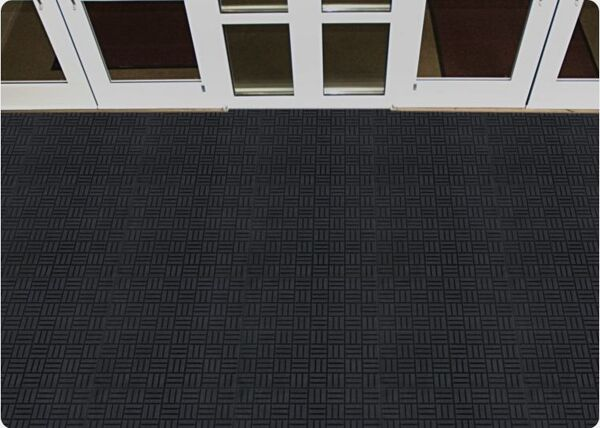 "Super Scrape Parquet Tile 1 Floormat.com These Superscrape Parquet Tile offer a 1/4"" thick molded Nitrile Rubber with 20% post consumer recycled content, 18"" X 18"" tile. <ul> <li>Effectively removes and stores dirt and sand beneath shoe level so it does not enter the building</li> <li>UV resistant, anti-static</li> <li>Recommended for commercial buildings, grocery stores, hotels, restaurants, healthcare facilities, office buildings and more</li> </ul>"