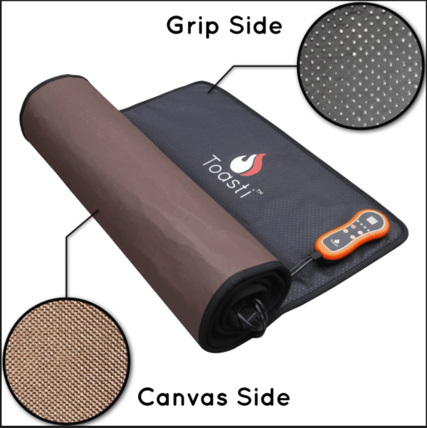 """ToastiMat 3 Floormat.com The ToastiMat is the ultimate mat for warmth and comfort. The ToastiMat delivers infrared heat that penetrates your deep muscle tissue to restore and relax your muscles, joints, and core. This is the only mat that offers head-to-toe comfort of the whole body for maximum comfort and relief. Choose from the smooth side with canvas or the grip bumps to match your activity. Compatible with yoga towels for extra grip and absorption. <ul> <li>Great for pets</li> <li>4 temperature settings</li> <li>Timer can be set for 1 minute to 9 hours</li> <li>Automatic safety shutoff</li> <li>Carrying bag included</li> <li>Comes with 88"""" cord</li> </ul>"""