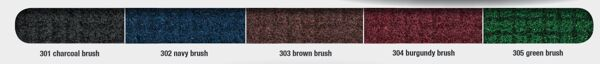 brushhog plus colors Floormat.com Turf pile fabric construction filters dirt and moisture away from the mat surface. Mat will not fade in the sun, and has drainable borders. Bi-level reinforced rubber construction for improved filtration performance. <ul> <li>100% solution-dyed nylon face won't fade in sunlight</li> <li>Rubber backing has 20% post consumer recycled car tire content.  Standard smooth backing or optional cleated backing</li> <li>Turf pile fabric construction filters dirt and moisture away from the mat surface</li> <li>Bi-level reinforced rubber construction for improved filtration performance</li> <li>High performance solution-dyed nylon face won't fade in sunlight</li> <li>Drainable borders</li> <li>Recommended for outside applications for all commercial buildings</li> </ul>
