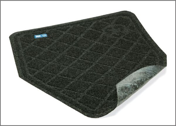 """cleanshield 2 floormat Floormat.com The latest technology in urinal matting, the CLEANSHIELD URINAL MAT is antimicrobial to reduce odors. With its Seep Guard Tacki Back construction, the CLEANSHIELD eliminates urine seepage to the floor, while keeping the mat securely in place. Easy 30 day Time strip indicates when it is time to replace. Anti-Microbial Treated to reduce odors. Seep Guard Tacki Back eliminates urine seepage to the floor while keeping mat in place. Easy to read 30 day Timestrip® indicates when it is time to replace the mat. 100% eco friendly post-consumer recycled <span class=""""caps"""">PET</span> fabric with diamond pattern. Improve bathroom appearance by protecting the floor & grout from uric acid damage."""