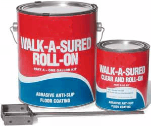 """floormat epoxy roll on Floormat.com Easy to use newly developed two-part anti-slip epoxy system for moderate use. Simply mix and use 1/4"""" nap epoxy paint roller to apply. Recommended for indoor or outdoor use. Product can be applied to wood, aluminum, concrete, metal, etc. Great for any foot traffic applications such as ramps, docks, stairs, amusement parks and around slippery wet areas. Chemical, solvent and water resistant."""