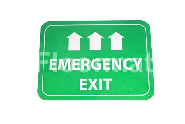 fm03 emergency exit sign day Floormat.com Floormat.com warehouse signs are durable, self-adhesive signs constructed from industrial grade plastic. Intended for use in factory warehouses and buildings where restrictions and safety notifications need to be highlighted.