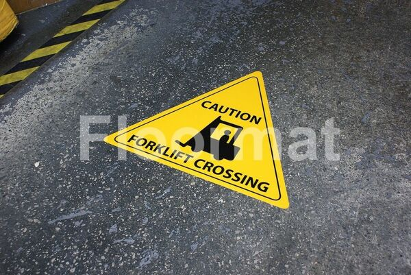 fm08 caution forklift crossing sign Floormat.com Floormat.com warehouse signs are durable, self-adhesive signs constructed from industrial grade plastic. Intended for use in factory warehouses and buildings where restrictions and safety notifications need to be highlighted.