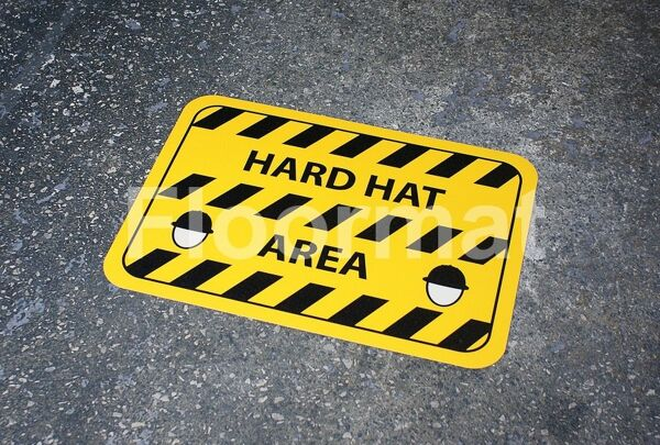 fm09 hard hat area sign1 Floormat.com Floormat.com warehouse signs are durable, self-adhesive signs constructed from industrial grade plastic. Intended for use in factory warehouses and buildings where restrictions and safety notifications need to be highlighted.